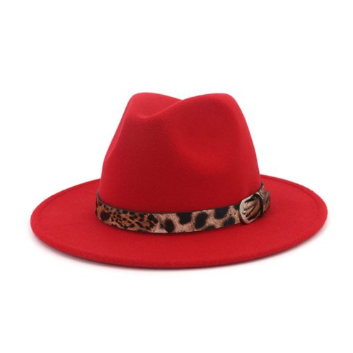 Print Wool Blends Lepard Print Patchwork Fedora Hat