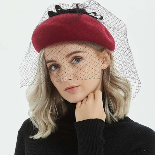 Bowknot Dome Sweet Plain Beret Hats