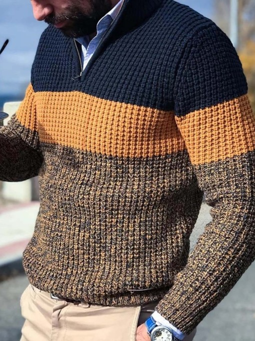 Color Block Standard Winter Men's Sweater