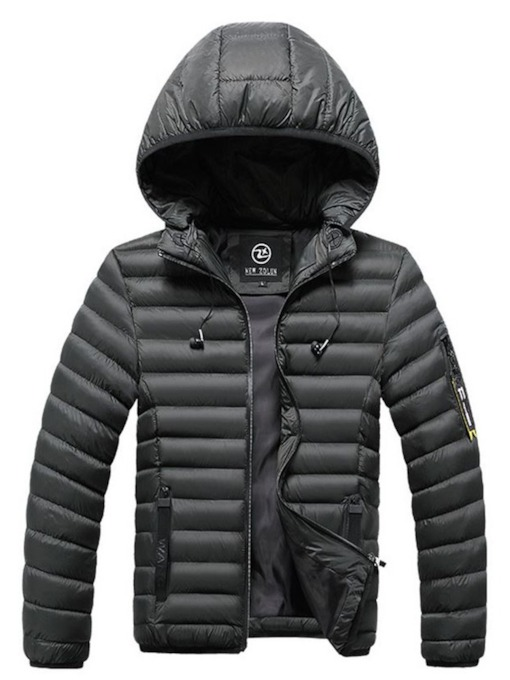 Hooded Standard Zipper Plain Men's Down Jacket