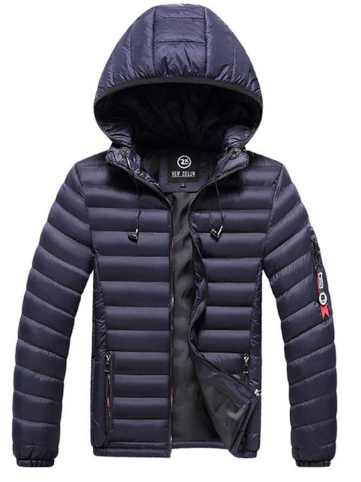 Hooded Standard Plain Zipper Men's Down Jacket