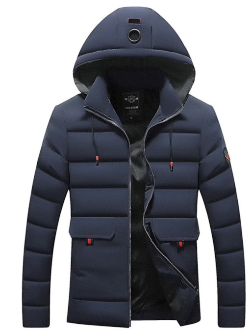 Zipper Plain Standard Hooded Men's Down Jacket