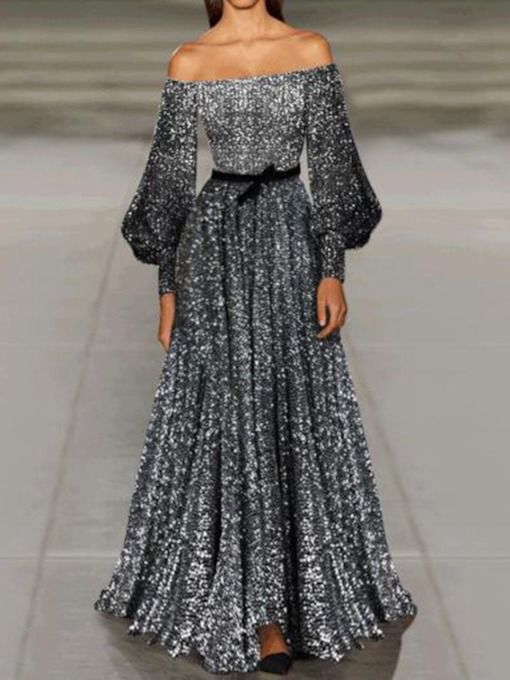 Long Sleeve Sequins Floor-Length Off Shoulder Mid Waist Women's Dress