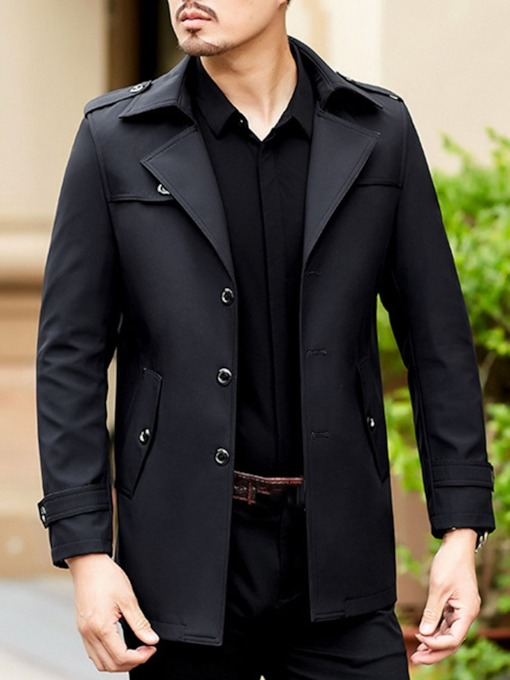 Plain Mid-Length Lapel Button OL Men's Trench Coat