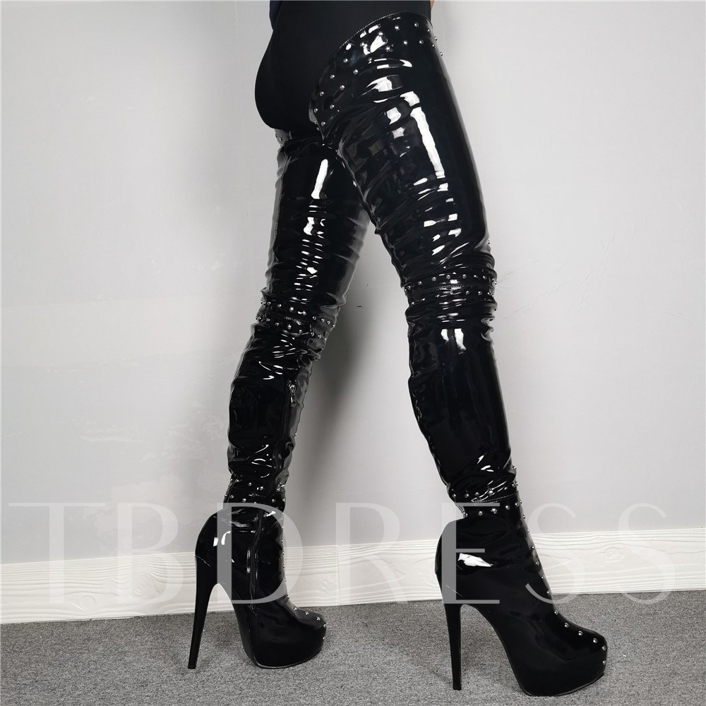 Customized Side Zipper Round Toe Sexy Thigh High Boots