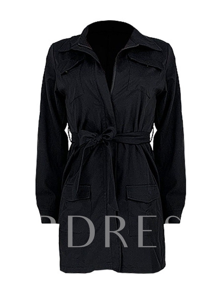Lace-Up Lapel Mid-Length Slim Women's Trench Coat