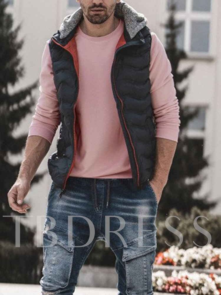 Thick Color Block Hooded Casual Men's Waistcoat