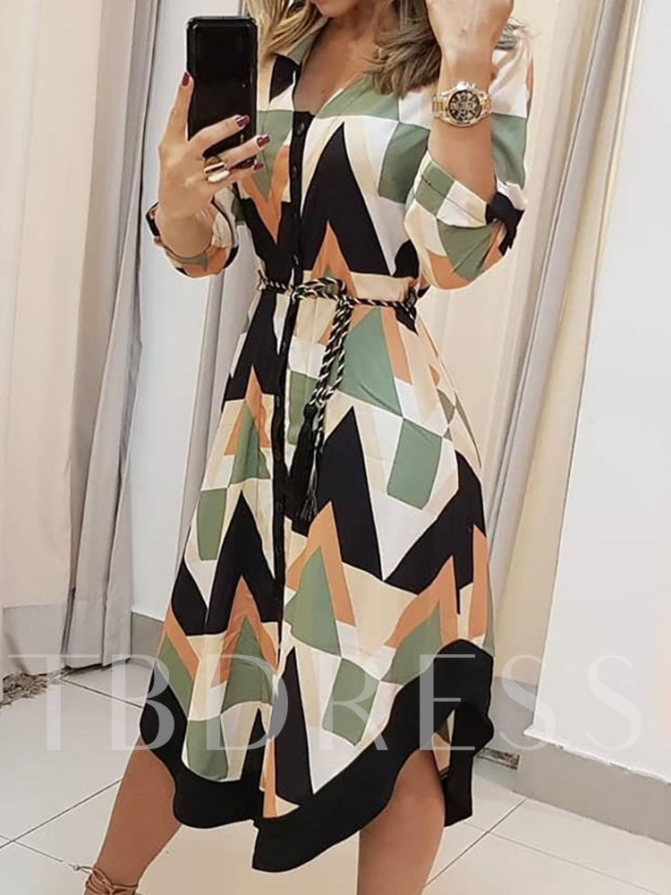 Long Sleeve Lapel Mid-Calf Asymmetric Geometric Women's Dress
