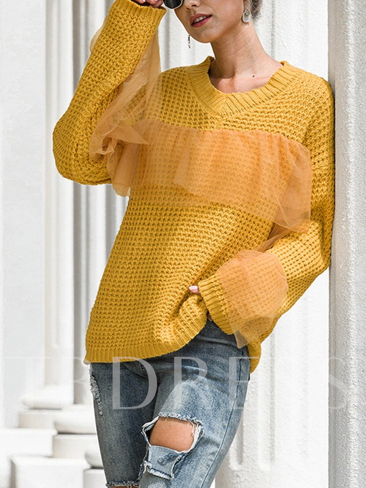 Regular Mesh V-Neck Women's Sweater