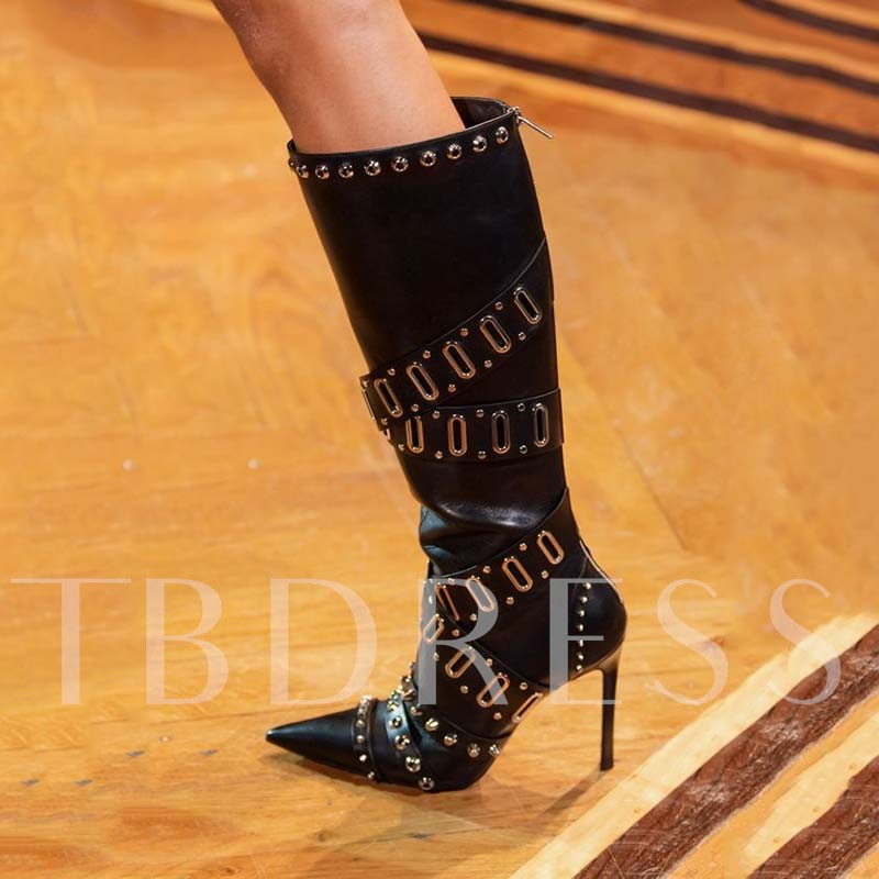 Customized Stiletto Heel Back Zip Pointed Toe Knee High Boots