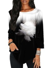 Mid-Length Color Block Round Neck Three-Quarter Sleeve Loose Women's Shirt