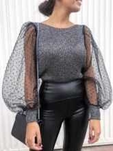 Puff Sleeve Patchwork Long Sleeve Women's Sweater