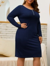 Plus Size Long Sleeve Knee-Length Round Neck Pullover Women's Dress