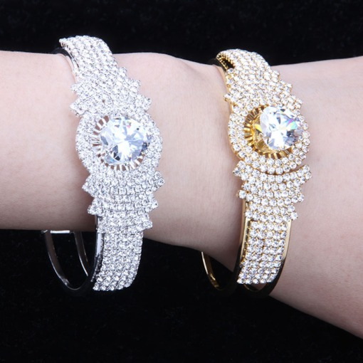 Rhinestone Romantic Plain Diamante Female Bracelets