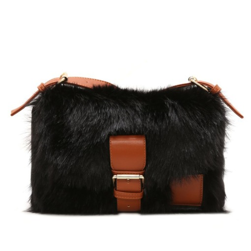 Belt-Decorated Rectangle Fluffy Crossbody Bags
