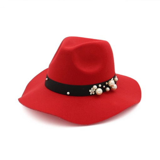 Fashion Wool Blends Beads Elegant Women's Fedora Hat