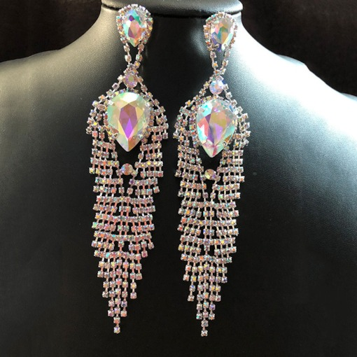 Diamante Rhinestone Anniversary Drop Earrings
