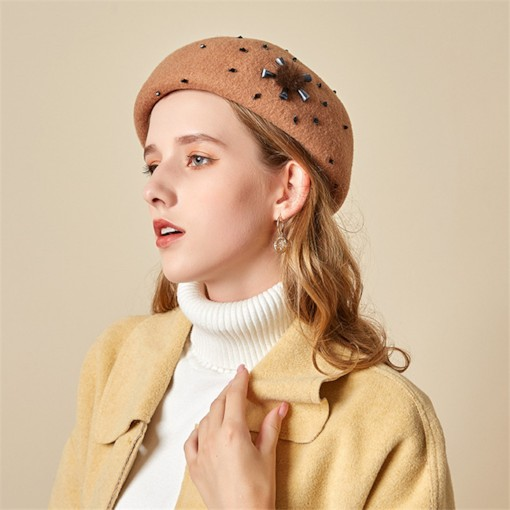 Wool Blends Brimless Women's Beret Hats