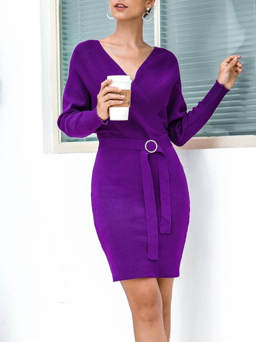 Long Sleeve Above Knee Belt V-Neck Batwing Sleeve Women's Dress