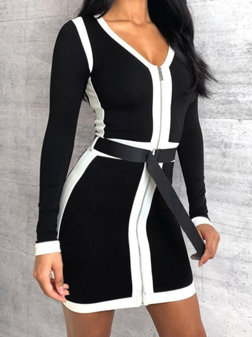 Belt V-Neck Long Sleeve Above Knee Party/Cocktail Women's Dress