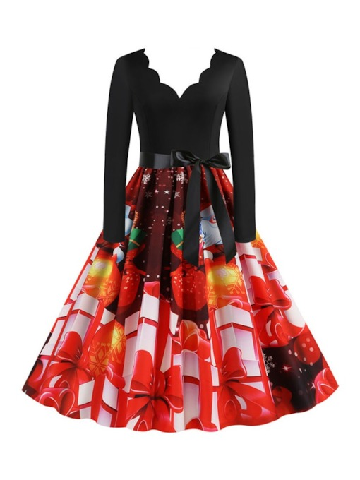 Christmas Mid-Calf Long Sleeve Print V-Neck Party/Cocktail Women's Dress