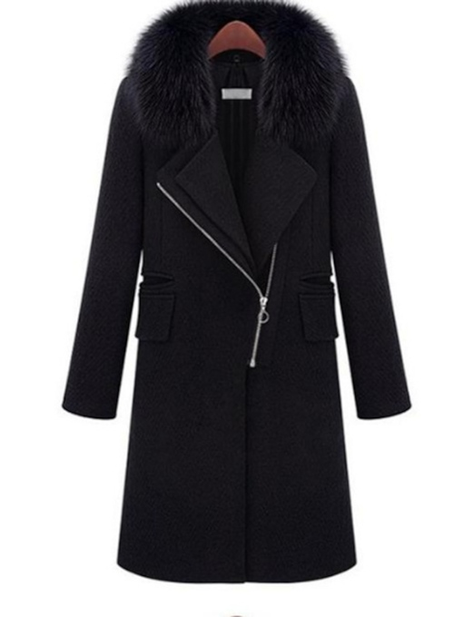 Straight Regular Zipper Fall Women's Overcoat