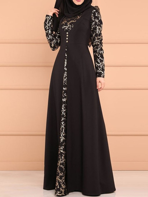 Button Floor-Length Long Sleeve Geometric Women's Dress