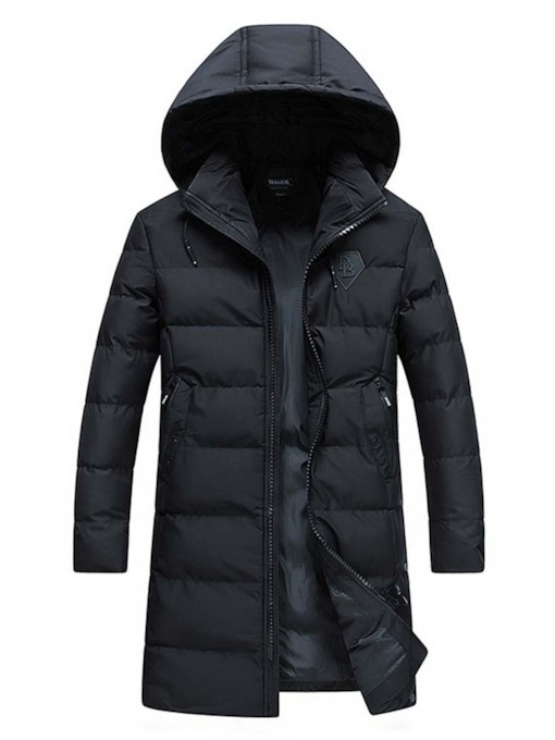 Plain Mid-Length Hooded Zipper European Men's Down Jacket