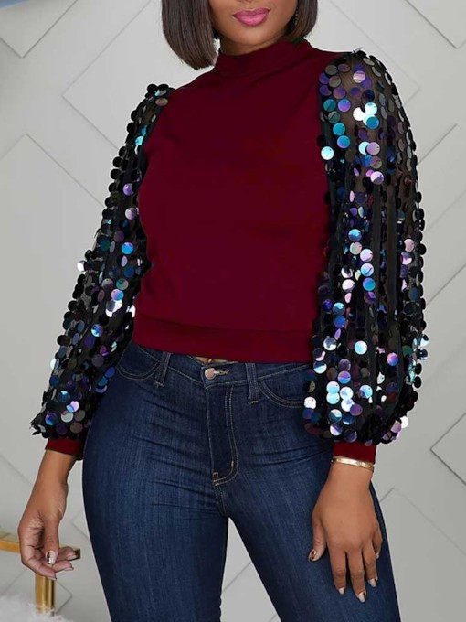 Lantern Sleeve Color Block Sequins Nine Points Sleeve Women's Hoodie