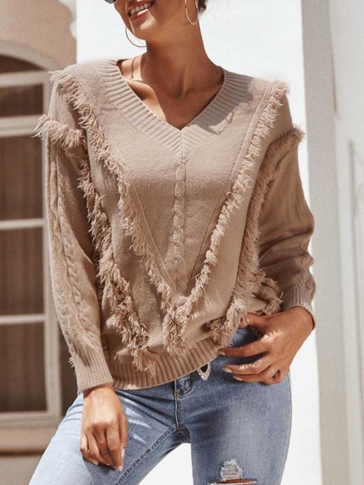 Regular Patchwork V-Neck Women's Sweater
