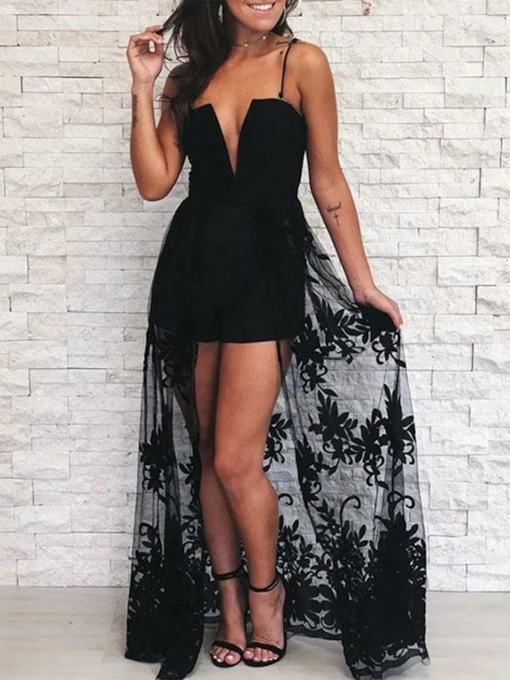 Column Spaghetti Straps Black Lace Cocktail Dress