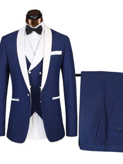 Color Block European One Button Men's Dress Suit