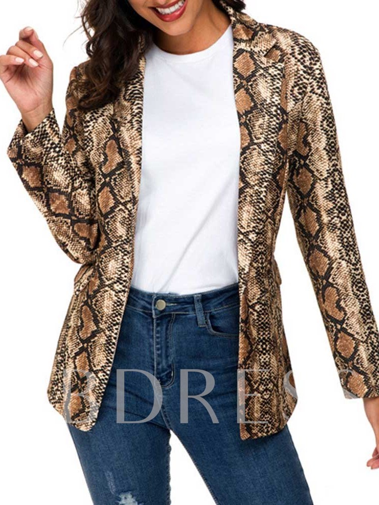 Color Block Notched Lapel Long Sleeve Mid-Length Women's Casual Blazer