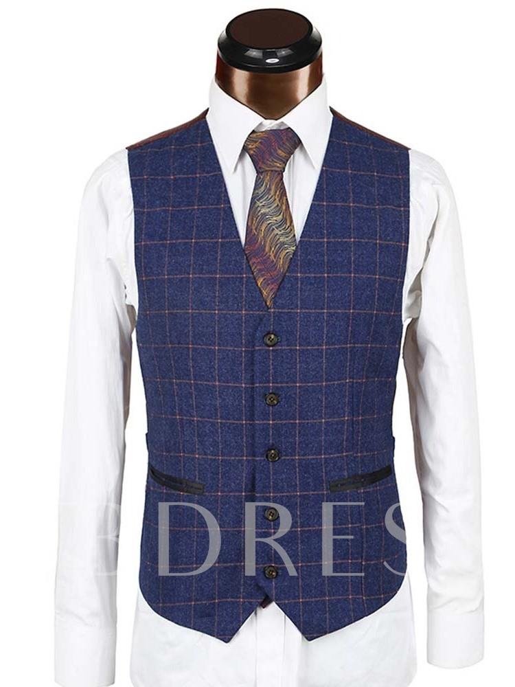 Plaid Vest Button Single-Breasted Men's Dress Suit