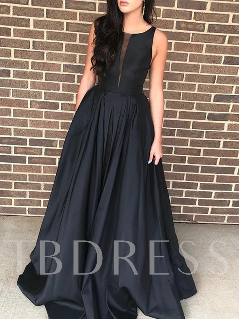 A-Line Straps Black Evening Dress 2019