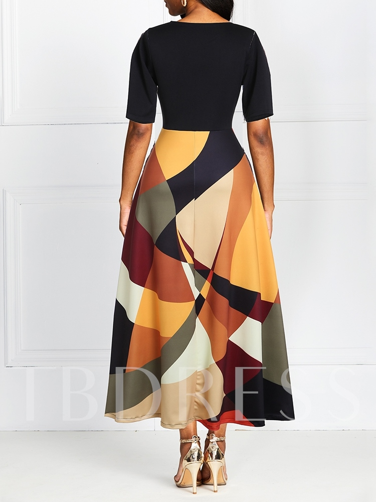 Round Neck Short Sleeve Ankle-Length Pullover Women's Maxi Dress