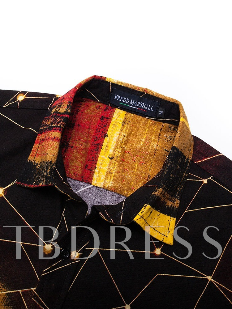 Print Lapel Color Block European Single-Breasted Men's Shirt