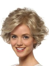 Short Blonde Wigs For Women Pixie Wigs Curly Bob Hair Wigs With Bangs Heat Resistant Synthetic Hair Capless Wigs 12inch