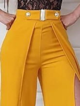 Split Slim Wide Legs Women's Casual Pants
