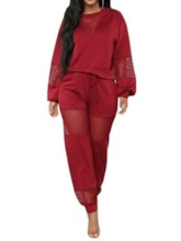 Patchwork Plain Round Neck Pullover Two Piece Sets