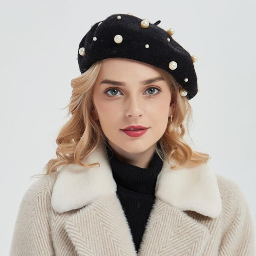 Beads Wool Blends Sweet Plain Beret Hats