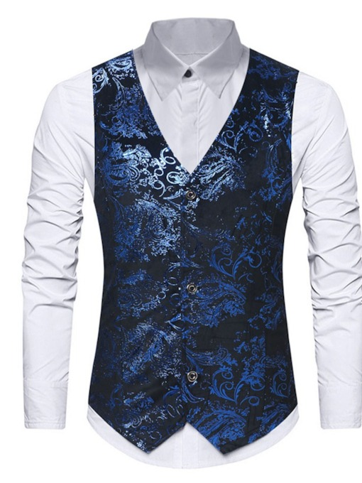 V-Neck Button Color Block Korean Men's Waistcoat