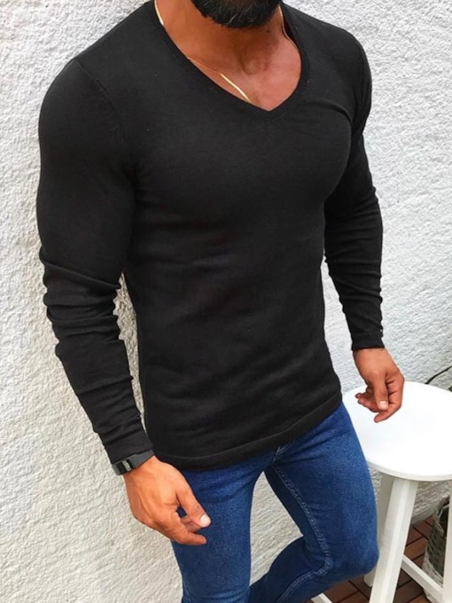 Round Neck Casual Plain Slim Men's Shirt