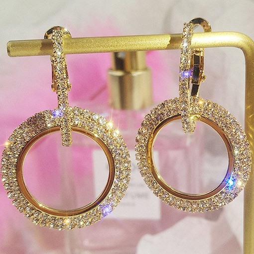 Diamante Alloy Plain Wedding Drop Earrings