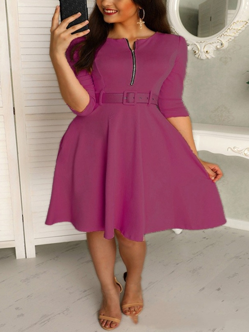 Round Neck Three-Quarter Sleeve Mid-Calf Belt Sweet Women's Dress