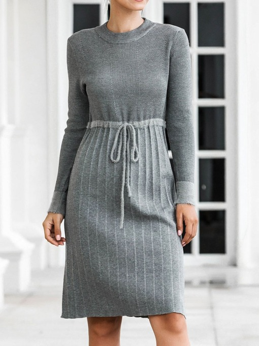 Lace-Up Knee-Length Round Neck Long Sleeve Date Night/Going Out Women's Sweater Dress