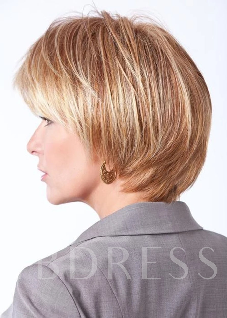 Women's Classic Bob Flirty Cut With Straight Layers 100% Human Hair Wigs With Banges Lace Front Cap Wigs 10Inch