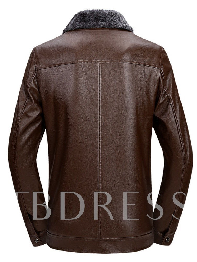 Lapel Patchwork Slim Men's Jacket