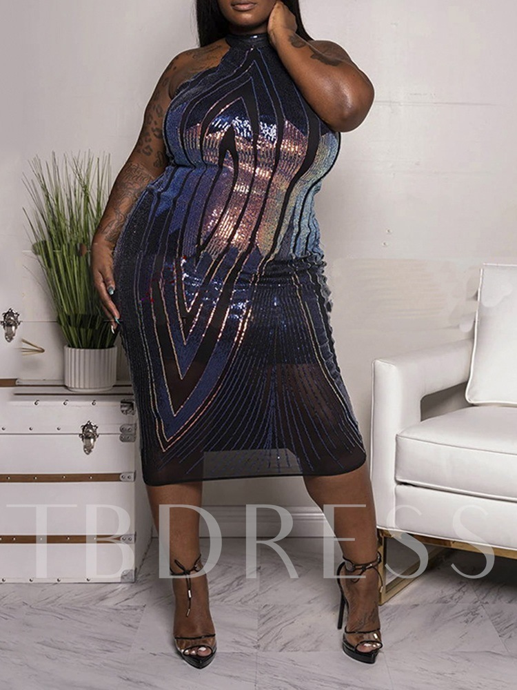 Plus Size Mid-Calf Sleeveless Sequins Pullover Women's Dress