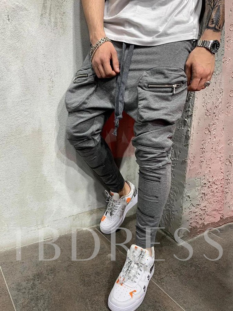 Zipper Plain Baggy Pants Mid Waist Men's Casual Pants